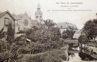 Vue du pont situé à l'angle de la rue Frédéric Plomb et de la rue Dom Pérignon. © Epernay Patrimoine